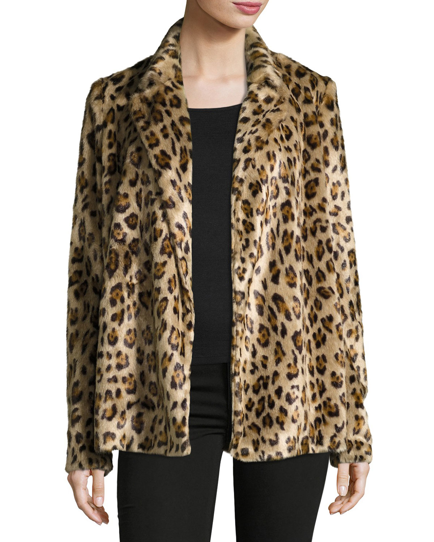 38d6b8388aa7 Theory Clairene Leopard Faux Fur Coat | Neiman Marcus