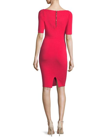 Short-Sleeve Square-Neck Sheath Dress