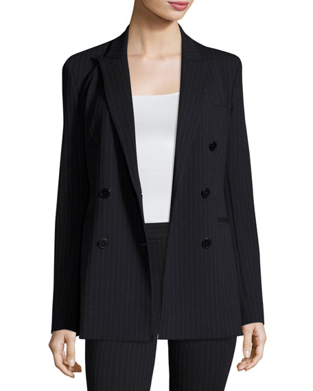 Pinstripe Knit Double-Breasted Power Jacket, Navy