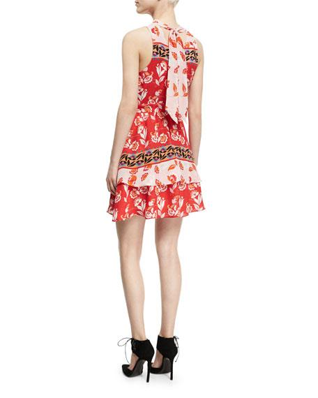 Aurora Sleeveless High-Neck Mini Dress, Red