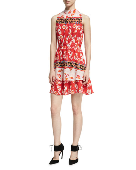 Parker Aurora Sleeveless High-Neck Mini Dress, Red