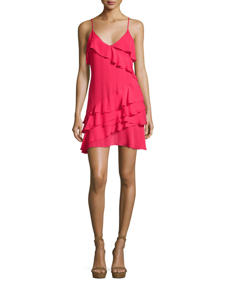 Athens Silk Tiered Ruffled Mini Dress