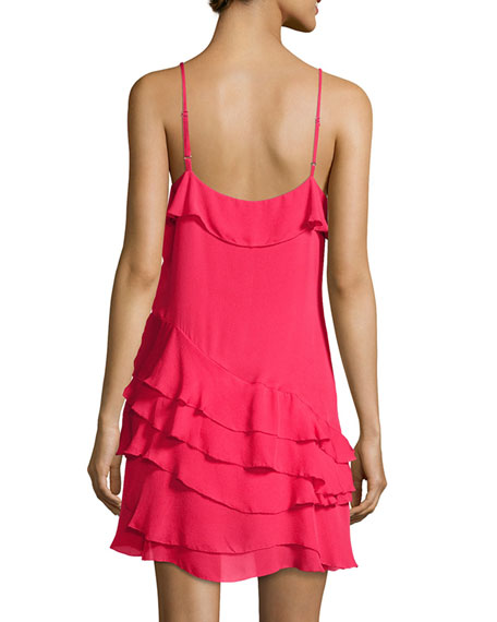 Athens Silk Tiered Ruffled Mini Dress