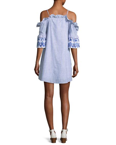 Keegan Striped Button-Front Mini Dress