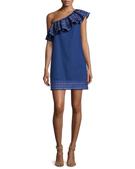 Katrina One-Shoulder Embroidered Dress, Blue