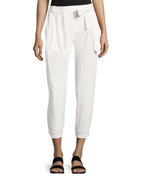 Parker Elliott Mid-Rise Cropped Pants, White