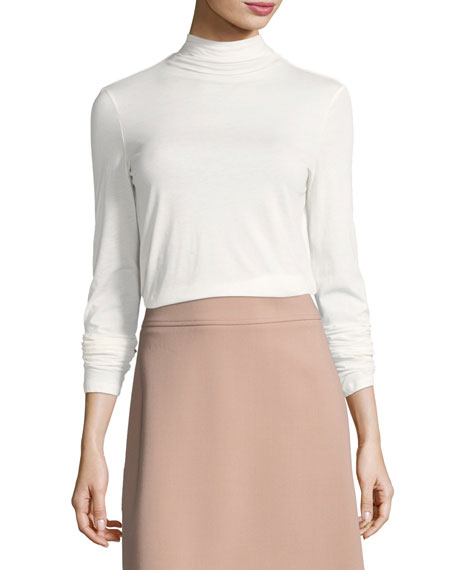 Theory Basic Long-Sleeve Turtleneck Top, White