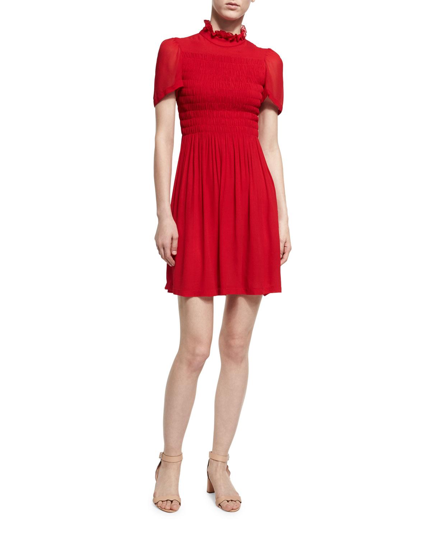 Neiman Dress Short Chung Red Smocked Mini Marcus Alexa Sleeve 5qaOBXwX0
