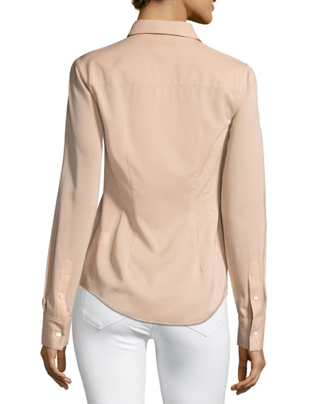 Perfect Fitted Button-Front Top, Pink