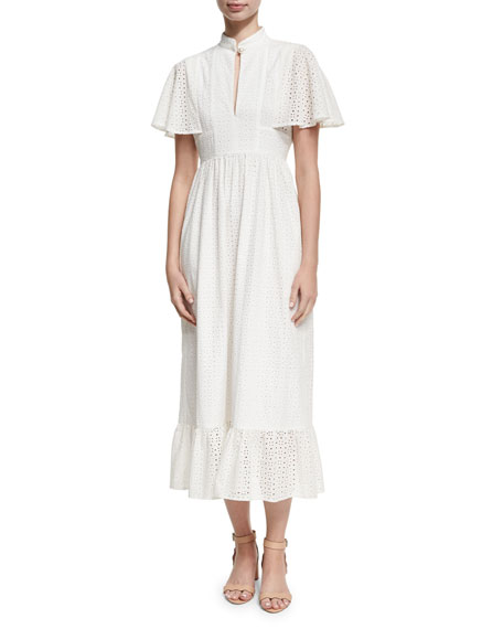 Alexa Chung Frill Hem Eyelet Cape Dress, White