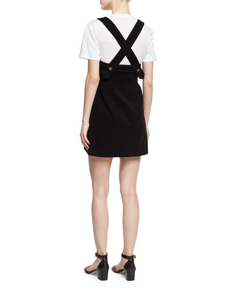 Button-Front Pinafore Dress, Black