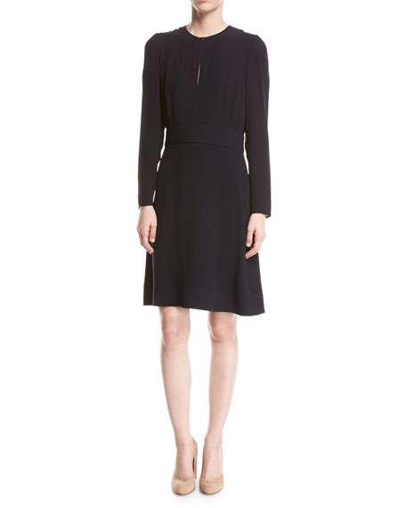 Classic Georgette Blouse Dress, Navy