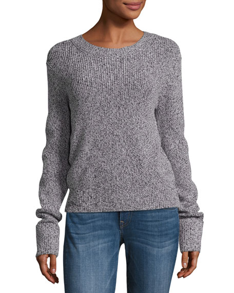 Prosecco Ribbed Marled Pullover Sweater W/ Cuff