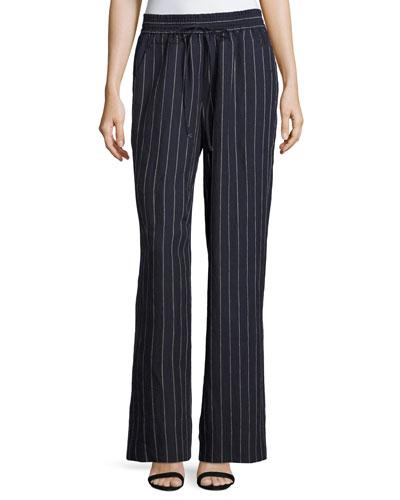 Allen Striped Lago Linen Wide-Leg Pants, Blue Pattern