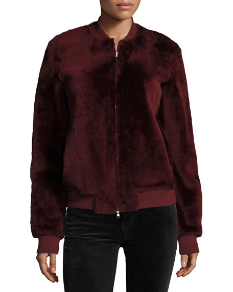 Silky Merino Shearling Bomber Jacket, Brown