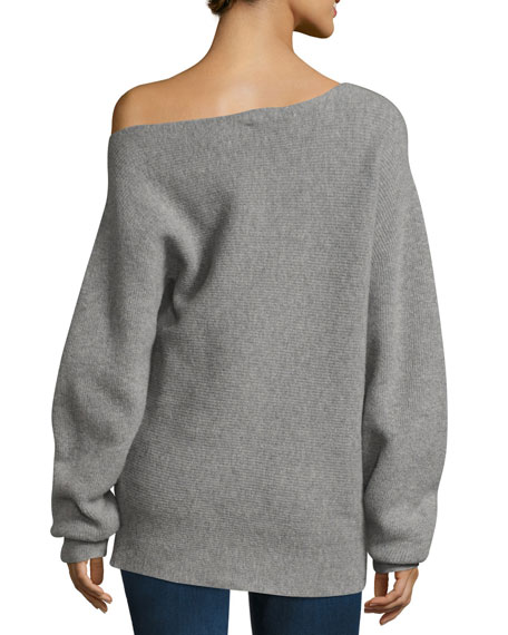 Image 2 of 2: One-Shoulder Ribbed Royal Wool Sweater, Gray