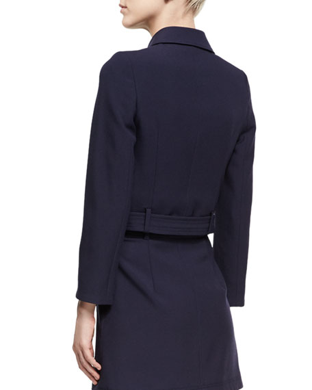 Cropped Patch Pocket Jacket, Navy