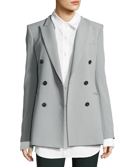 Theory Camogie Double-Breasted Power Jacket, Gray