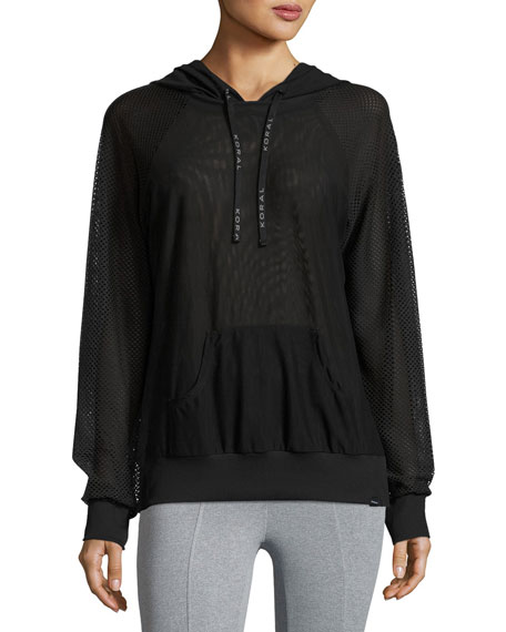 Koral Activewear Chi Mesh Performance Hoodie, Black