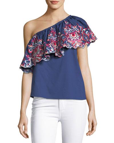 Reba Floral-Embroidered One-Shoulder Poplin Top