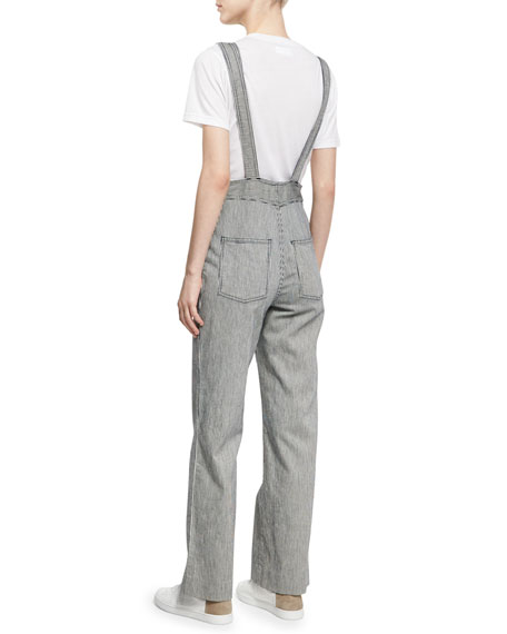 Zip Front Striped Dungarees, Navy