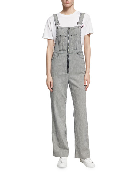 Alexa Chung Zip Front Striped Dungarees, Navy