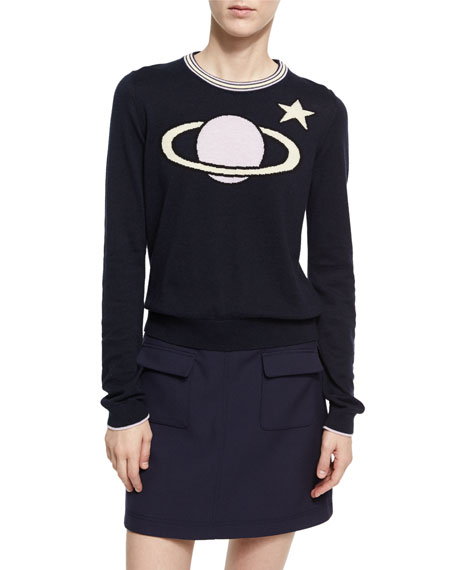 Alexa Chung Patch Pocket Cotton Mini Skirt, Navy
