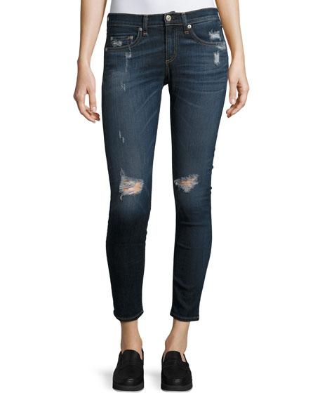 rag & bone/JEAN Capri Denim Jeans W/ Rips