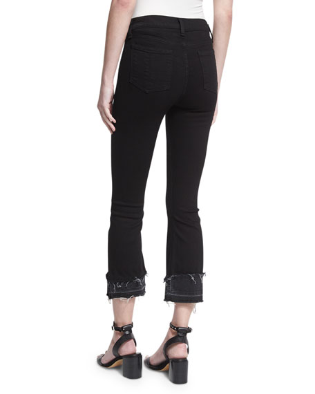 Crop Flare Released-Hem Denim Jeans