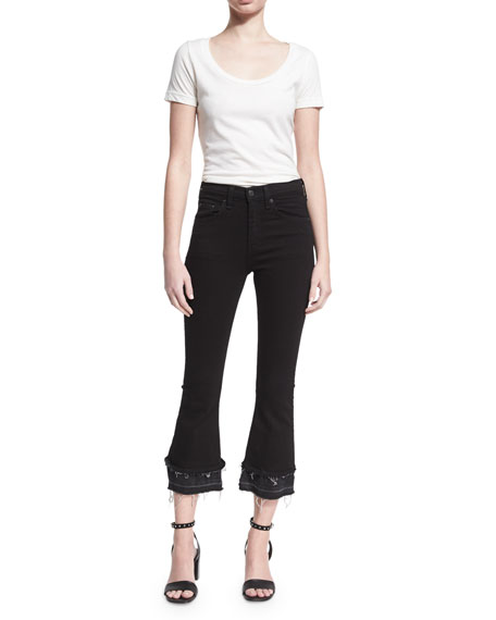 Crop Flare Released-Hem Denim Jeans