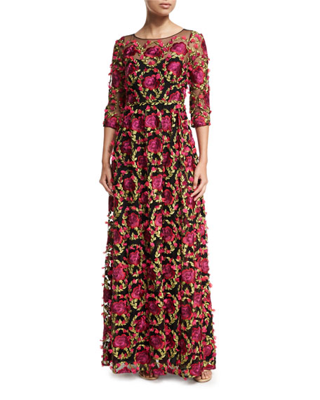 Marchesa Notte embroidered dress ...