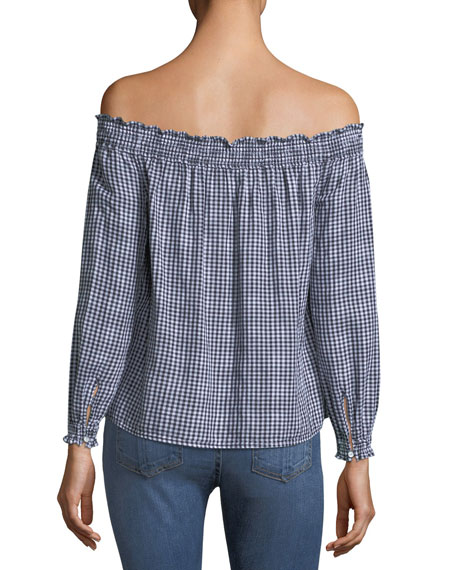 Drew Gingham Off-the-Shoulder Top