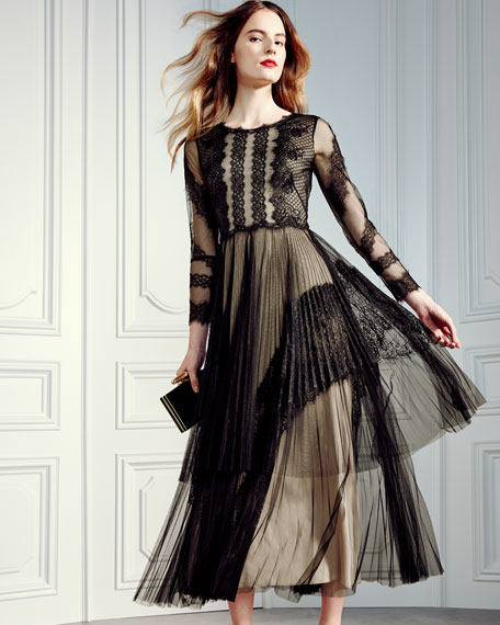 3/4-Sleeve Two-Tiered Pleated Tulle Cocktail Dress