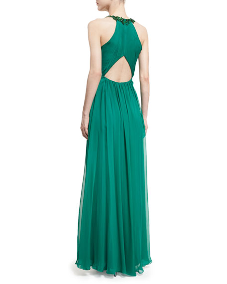 Halter-Neck Sleeveless Beaded Chiffon Gown
