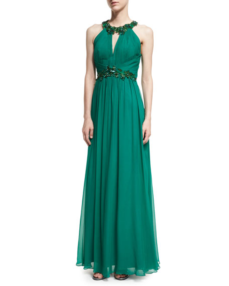 Marchesa Notte Halter-Neck Sleeveless Beaded Chiffon Gown