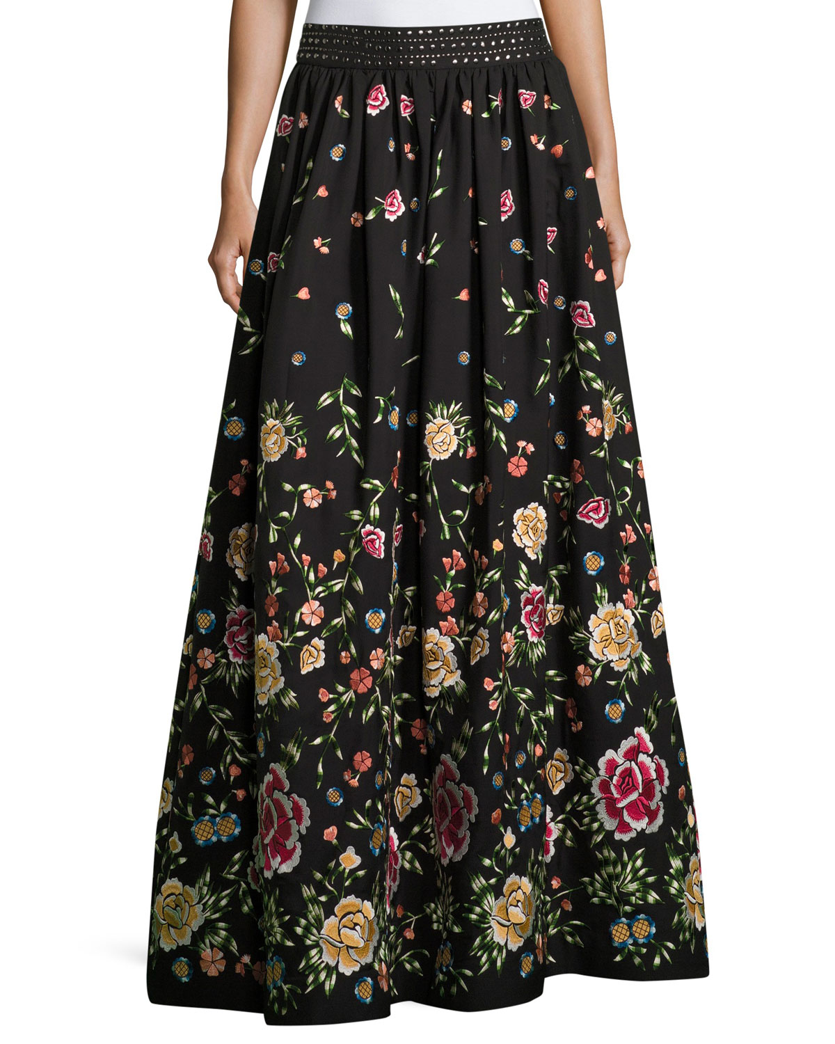 Alice + Olivia Tina Embroidered Long Ball-Gown Skirt | Neiman Marcus