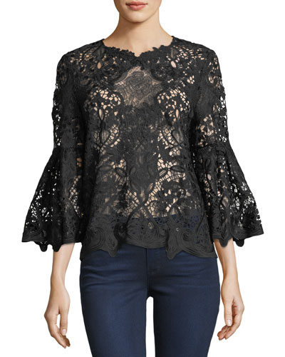 Mallory Bell-Sleeve Lace Blouse
