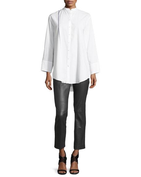 Lenno Button-Front Cotton Shirt w/ Selvedge Stripe