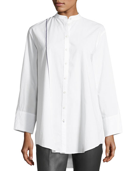 Lenno Button-Front Cotton Shirt w/ Selvedge Stripe