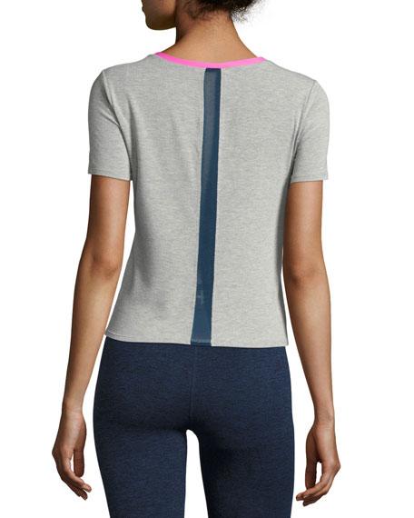 Racer Crewneck Athletic Tee, Gray/Pink
