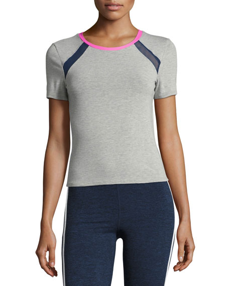 Racer Crewneck Athletic Tee, Gray/Pink