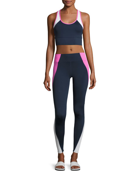 Tread High-Waist Leggings, Blue/Pink