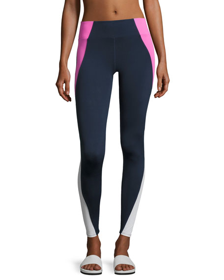 Heroine Sport Tread High-Waist Leggings, Blue/Pink