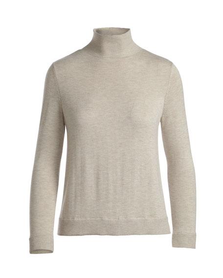 Fredrika Wool-Blend Turtleneck Sweater w/ Lace Hem