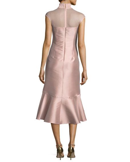 Adelia Smocked-Collar Satin Cocktail Dress