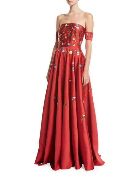 Sachin & Babi Margaret Strapless Embroidered Satin Gown,