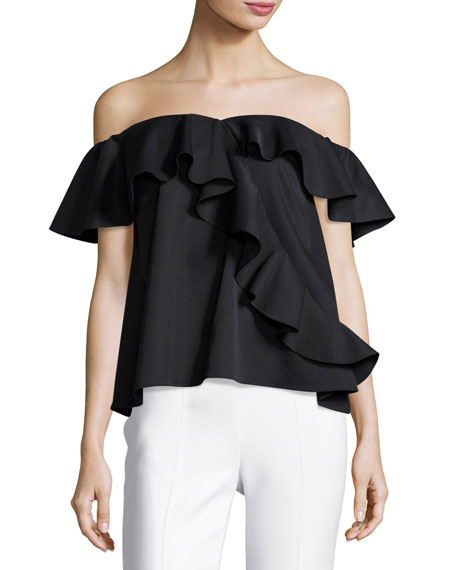 Winnie Ruffled-off-the-Shoulder Satin Top, Jet
