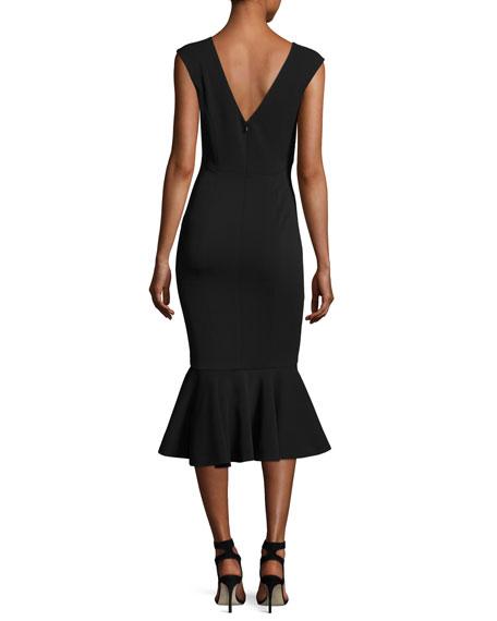 Vaughan Deep V-Neck Mermaid Midi Dress, Black