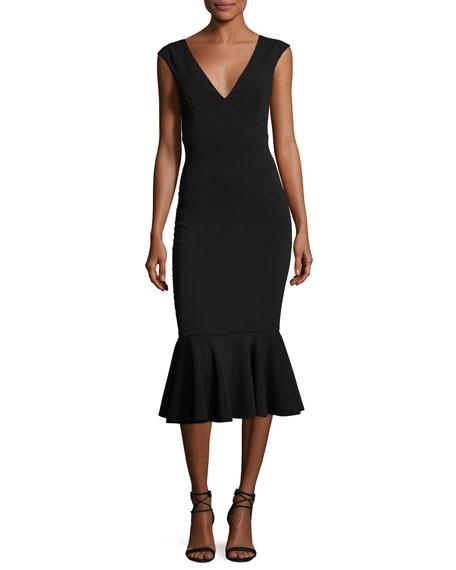 Jay Godfrey Vaughan Deep V-Neck Mermaid Midi Dress,