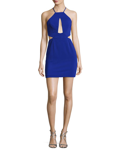 Jay Godfrey Etta Halter-Neck Cutout Cocktail Minidress, Electric